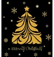 Christmas card with tree and snowflakes vector image vector image