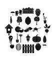 collecting vegetables icons set simple style vector image vector image
