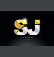 combination letter sj s j alphabet with gold vector image vector image