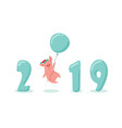 creative banner for new 2019 year with cute pig vector image vector image