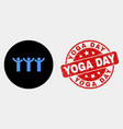 dancing people icon and grunge yoga day vector image vector image