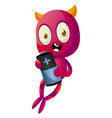 devil with big battery on white background vector image vector image