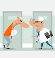 doctor and patient in clinic vector image