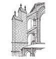 early gothic flying buttress arc boutant vintage vector image vector image
