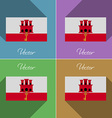 Flags Gibraltar Set of colors flat design and long vector image