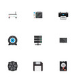 flat icons router diskette hard disk and other vector image
