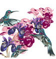 flower pattern with hummingbirds and orchids vector image