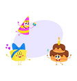 Funny birthday characters - hat cake gift box