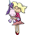 girl with toy unicorn cartoon vector image vector image