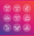 gym fitness exercises icons fitness training vector image vector image