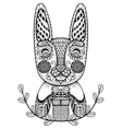 Hand drawn Easter Rabbit with gift in doodle vector image