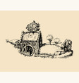hand sketched old rustic water mill vector image