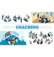 isometric staff business coaching composition vector image