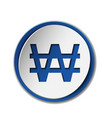 korean won symbol on colored circle flat icon vector image vector image