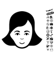 Lady Face Icon With Flying Drone Tools Bonus vector image