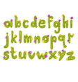 latin alphabet made of green cactus with blooming vector image