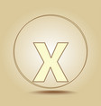 letter x lowercase round golden icon on light vector image