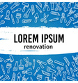 Linear renovation tools with text frame vector image vector image