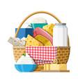 milk products set in wicker basket vector image vector image