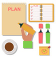 notebook agenda business note plan work vector image vector image