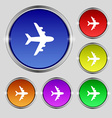 Plane icon sign Round symbol on bright colourful vector image