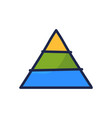 pyramid chart line icon isolated on white vector image vector image