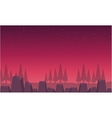 Red skyline landscape spruce and rock vector image vector image
