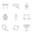 religion set icons in outline style big vector image vector image