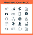 resources icons set with catalogue of employees vector image vector image