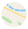 round map with river - streets and parks vector image