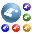 santa hat icons set vector image