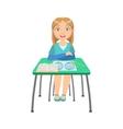 Schoolgirl Sitting Behind The Desk In School vector image vector image