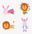 set circus rabbit and lion costume entertainment vector image