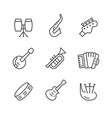 set line icons music instruments vector image