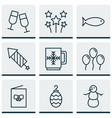 set of 9 celebration icons includes firework vector image vector image