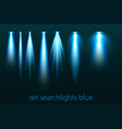 set of neon searchlights on a transparent vector image
