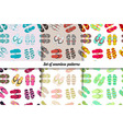 set seamless patterns of flip flops vector image