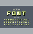 shadow and line cartoon font alphabet square vector image