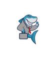 shark businessman cartoon logo mascot vector image vector image