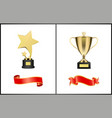 trophies and red ribbons set vector image vector image