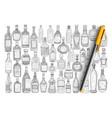 various glass bottles doodle set vector image