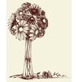 vase flowers wedding bouquet sketch retro style vector image vector image