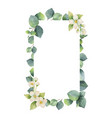 Watercolor frame with green eucalyptus vector