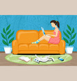 woman sitting with laptop on sofa vector image