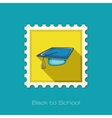 Graduation Cap flat stamp vector image