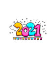 2021 cartoon new year number sketch doodle style vector image