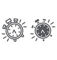 alarm clock line and glyph icon time and clock vector image