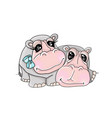 an adult hippo and baby vector image vector image