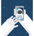 Astronaut makes selfie in space Astronaut vector image