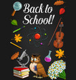 back to school owl in graduate cap classes items vector image
